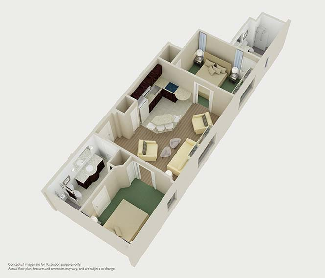 Two Bedroom Floor Plan For Hilton Grand Vacations Club Hotel At South Beach In Miami